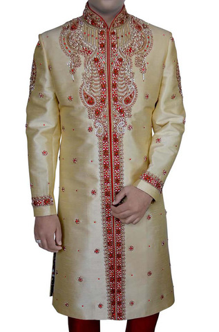 Mens Indian Wedding Men Golden Designer Sherwani Embroidered