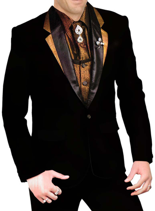 Mens Black 8 Pc Polyester Tuxedo Suit Wedding Partywear
