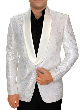 Mens White 3 Pc Tuxedo Suit One Button