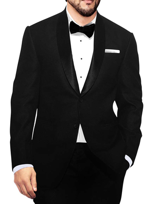 Mens Black Polyester 5 Pc Tuxedo Suit Shawl Collar
