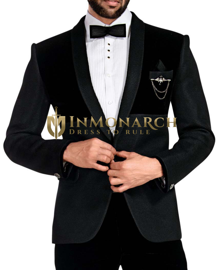 Mens Black and Stormy Tuxedo Shawl collar 6 Pc