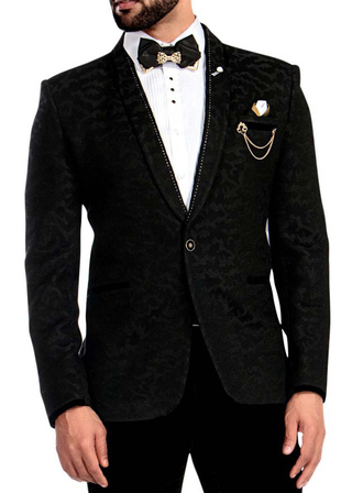 Mens Black Self Design Tuxedo Shawl Collar 6 Pc
