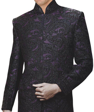 Sherwani for Men Wedding Purple Indo Western Designer Work Wedding Sherwani