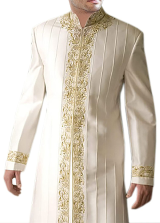 Indian Wedding Clothes for Men Cream Indo Western Designer Nehru Collar