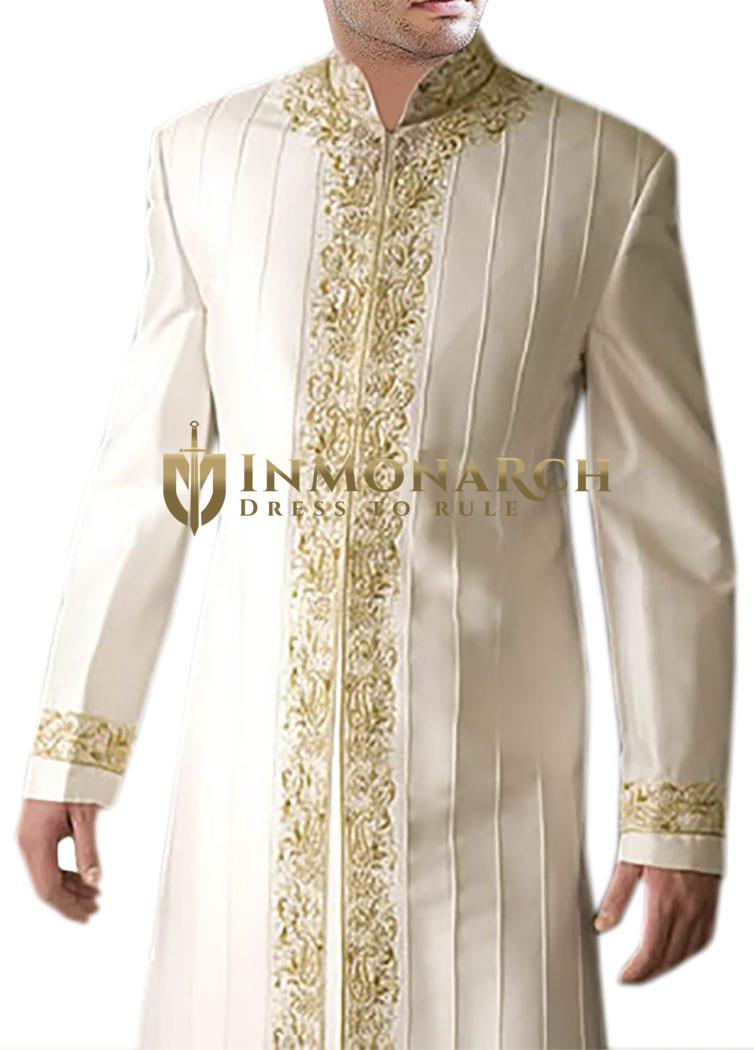 Indian Wedding Clothes for Men Cream Indo Western Designer Nehru Collar
