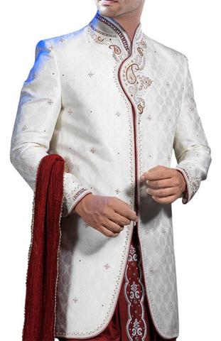 Mens Sherwani White Indo Western Suit Angarakha Style Designer