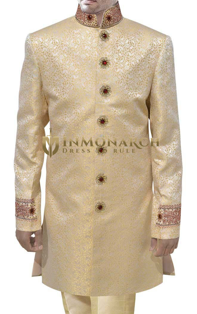 Mens Light yellow Sherwani Indo Western Suit Party Wear kurta for jeans