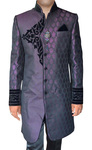 Sherwani for Men Purple Indowestern Patched Velvet Wedding Sherwani