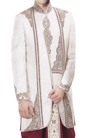 Sherwani for Men Cream Short Sherwani With Stylish Dhoti