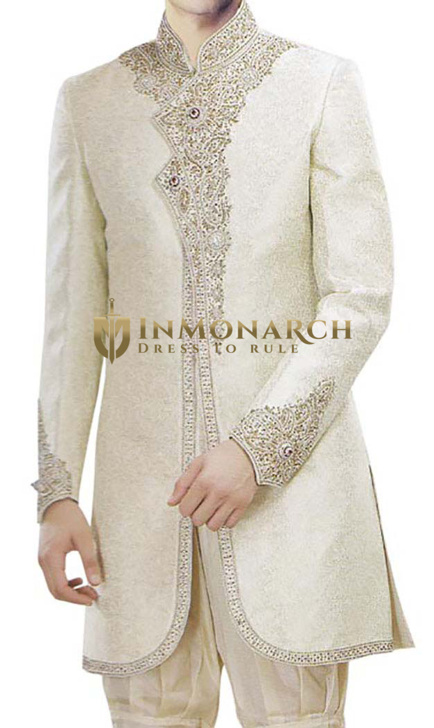 Indian Wedding for Men Cream Indo Western for Bridegroom Sherwani