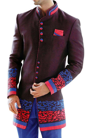 Mens Sherwani Wine Indo Western Suit Jodhpuri Indian Wedding