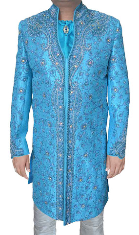 Sherwani for Men Wedding Aqua Indo Western Sherwani Fully Embroidered