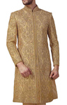 Mens Indian Wedding for Men Beige Indowestern Sherwani kurta Concealed Button