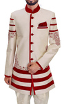 Indian Wedding Clothes for Men Cream and Red Indowestern Sherwani Suit