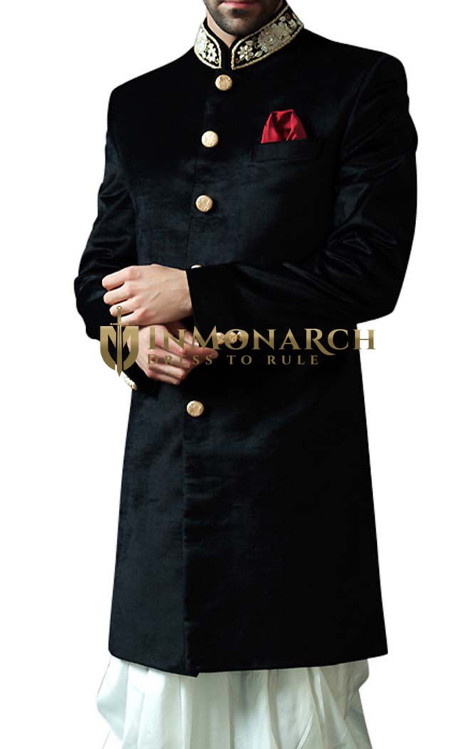 Sherwani Black Indowestern Suit Embroidered Indian Wedding Clothes for Men