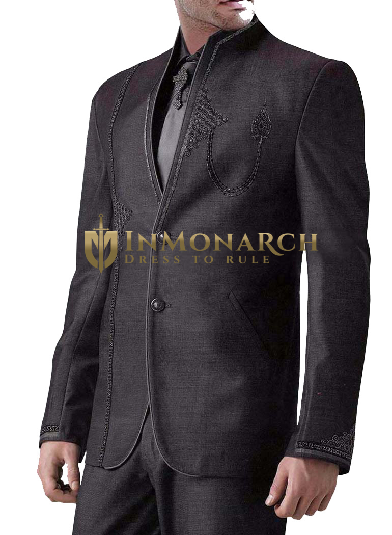 Mens Gray 5 pc Jodhpuri Suit Two Button