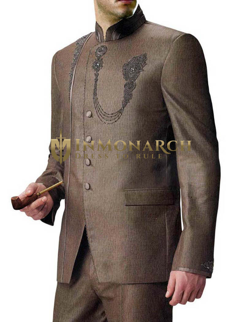 Mens Bronze 2 Pc Wedding Jodhpuri Suit