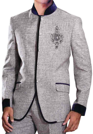 Mens Gray Jute 2 Pc Jodhpuri Suit Partywear