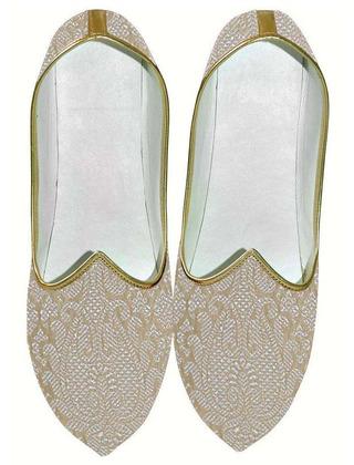 Indian WeddingShoes For Men Beige Wedding Shoes Floral Design