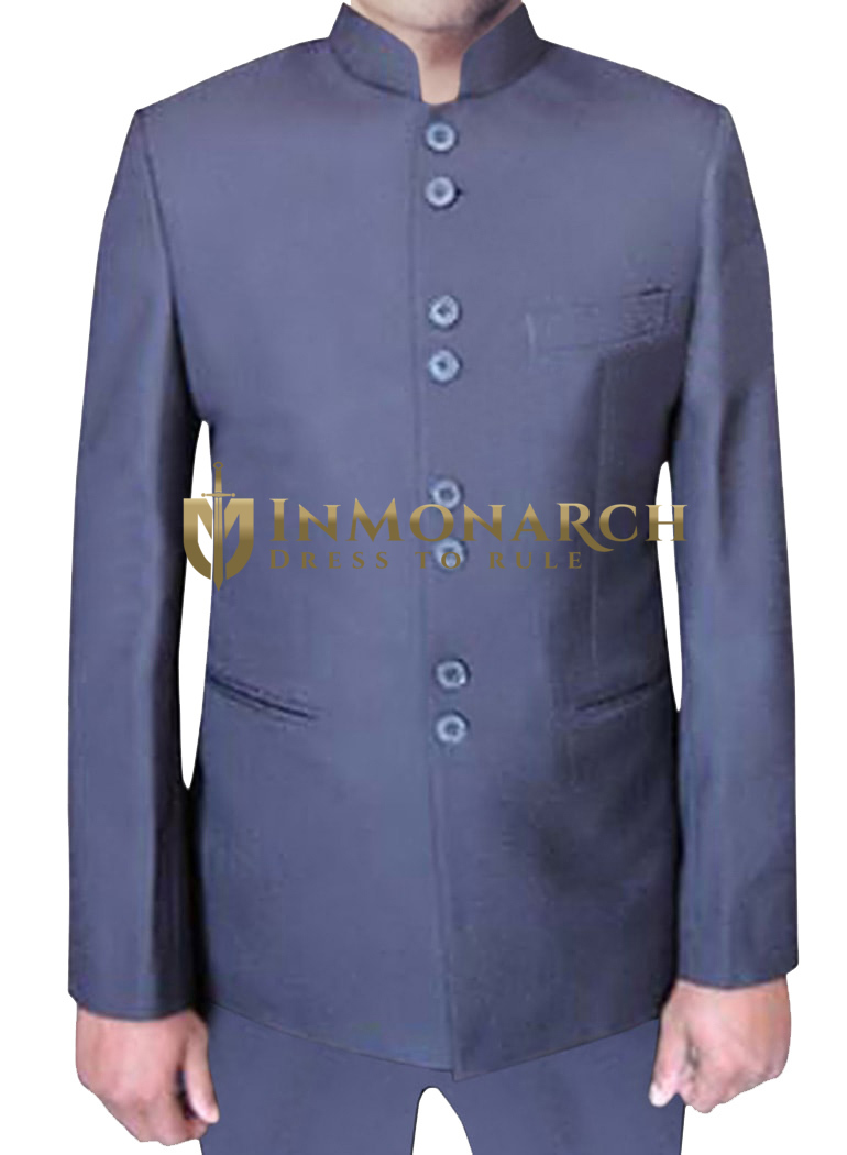 Mens Blue Nehru Jacket Partywear 8 Button