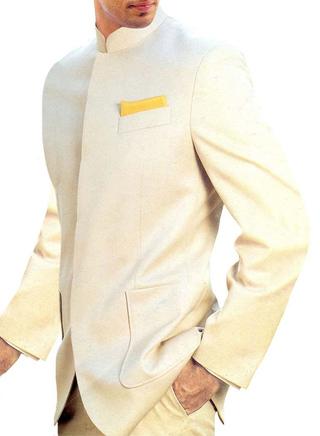 Mens Ivory Nehru Jacket Concealed Button Designer