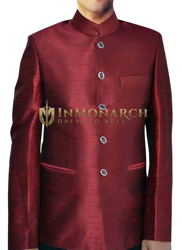 Mens Red Nehru Jacket Traditional 5 Button  conductor outfit