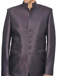Mens Wine Polyester Nehru jacket 5 Button