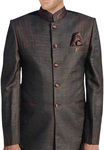 Mens Brown Nehru Jacket Threading Work