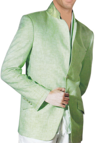 Mens Green Mandarin collar Jacket Bandhgala