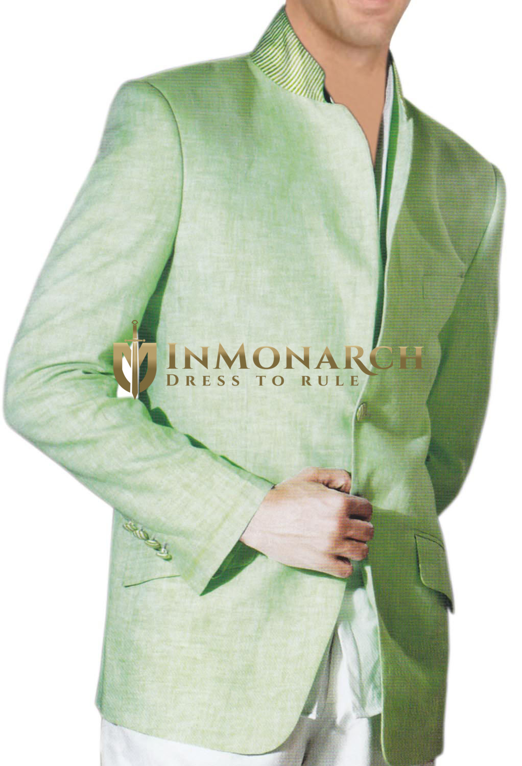 Mens Green Mandarin collar Jacket Bandhgala