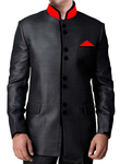 Mens Black Polyester Nehru Jacket Velvet Conductor Outfit
