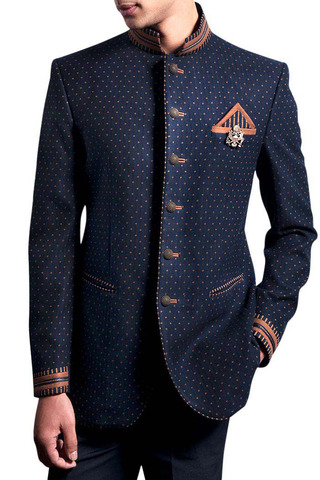 Mens Dark Navy 4 Pc Jodhpuri Suit Bridegroom