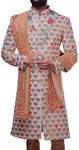 Mens Indian Ethnic Wear Cream Embroidered Wedding Sherwani indo western For Men