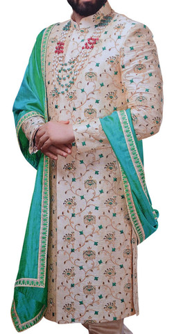 Mens Sherwani For Men Ivory Traditional Indian Clothes with Machine Embroidery