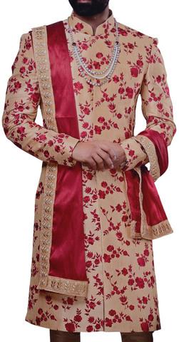 Mens Indian Sherwani For Men Red Embroidered Bisque Western Attire Sherwani