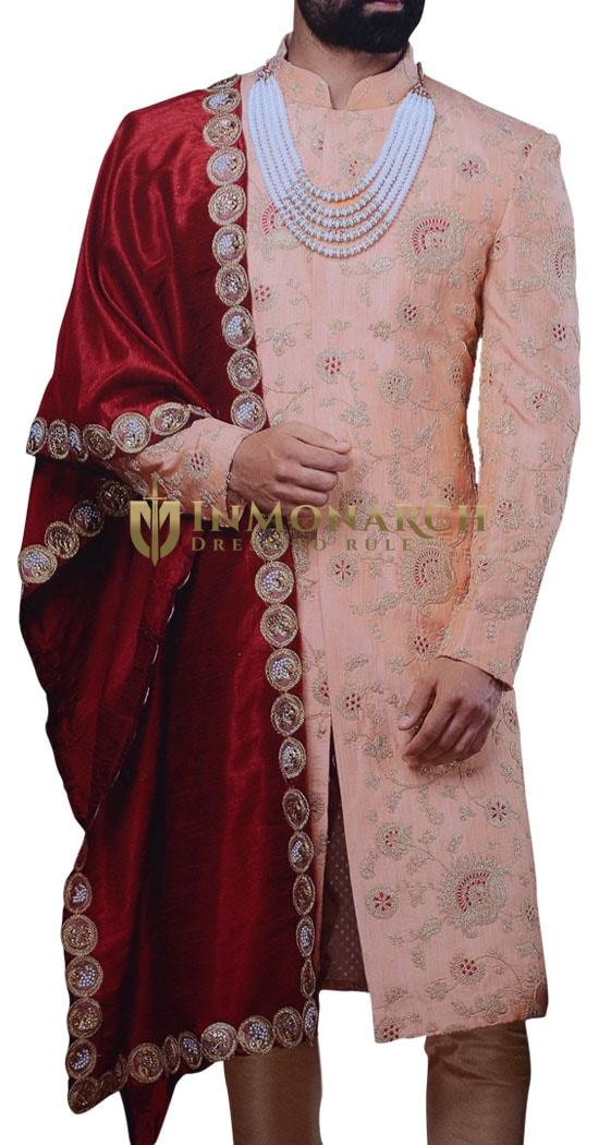 Mens Sherwani For Men Peach Wedding Sherwani Ethnic Indian Wedding Clothes