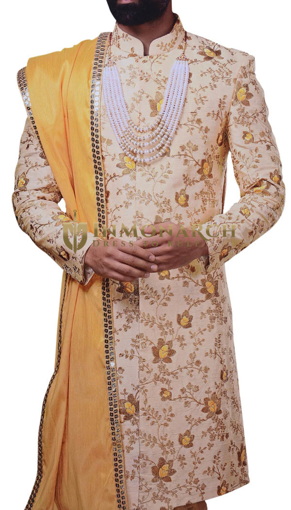 Groom Ivory Wedding Sherwani Thread Embroidered Indian Wedding For Men