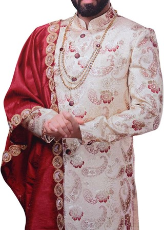 Mens Cream Sherwani Indian Wedding Sherwani Indian Dresses For Men