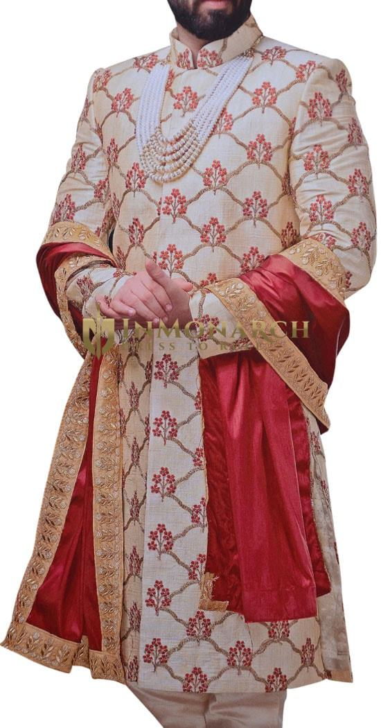 Mens ivory Wedding Sherwani Embroidered Work Groom Indian Wedding Clothes