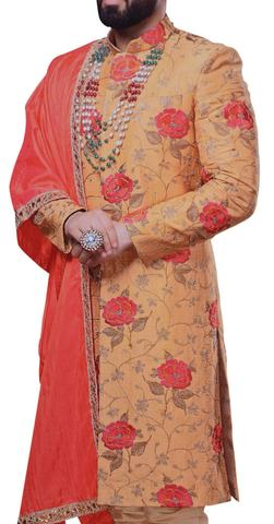 Mens Sherwani Tangerine Sherwani Kurta Thread Embroidery Work Kurta For Jeans