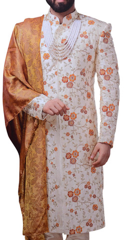 Mens Cream Wedding Sherwani Traditional Groom Sherwani Indian Clothes For Men