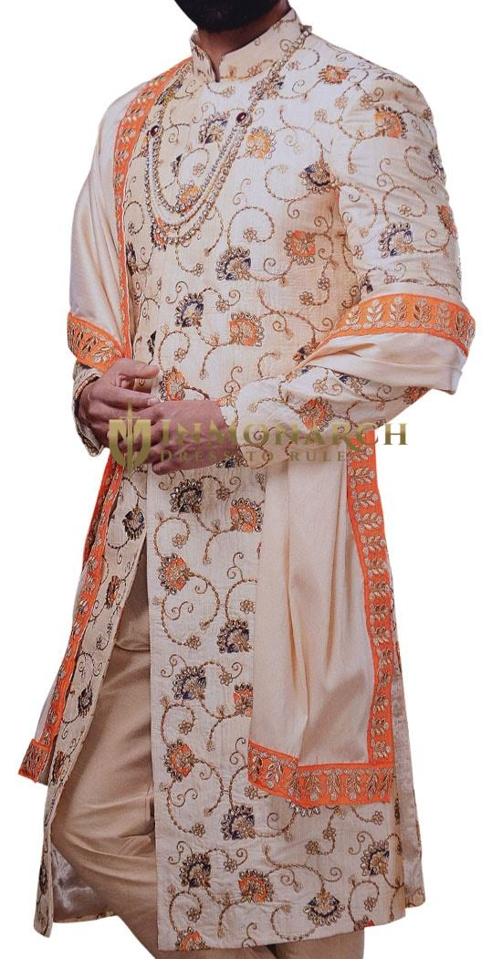 Sherwani For Men Wedding Ivory Embroidered Work Indian Traditional Dresses Sherwani