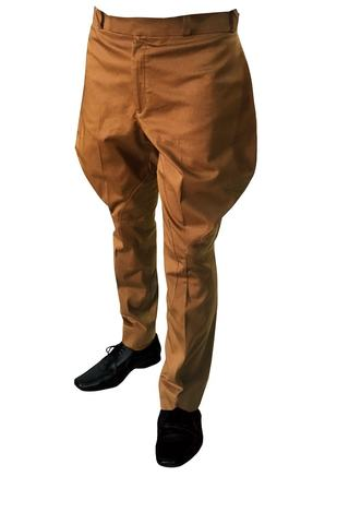 Mens dark tan cotton flair-hip breeches horse riding jodhpurs
