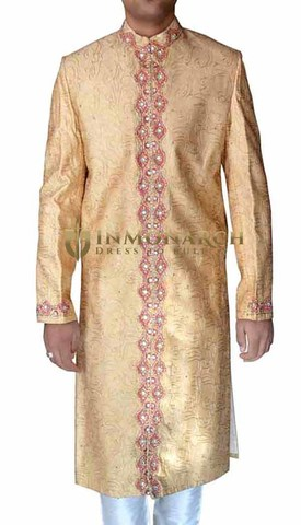 Mens Peach 2 Pc Sherwani Traditional Embroidered