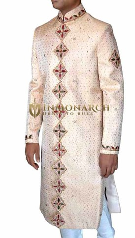 Mens Ivory 2 Pc Wedding Sherwani Conspicuous