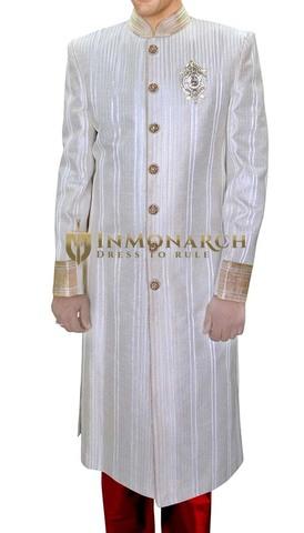 Mens Cream Groom 3 Pc Sherwani Traditional Unique Look