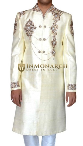 Mens Cream 2 Pc Designer Sherwani Astonishing