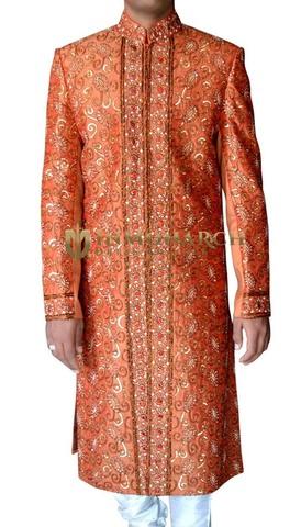 Mens Orange 2 Pc Wedding Sherwani Stylish Designer