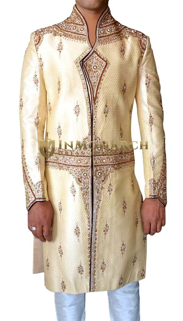 Mens Ivory 2 Pc Sherwani Traditional Bollywood