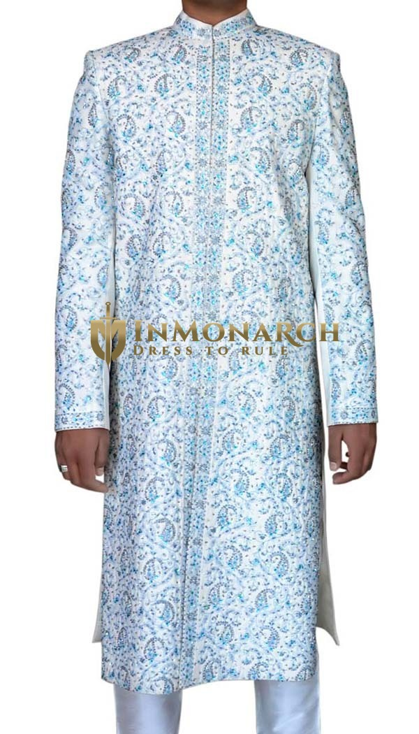 Mens White 2 Pc Sherwani Distinguished Designer